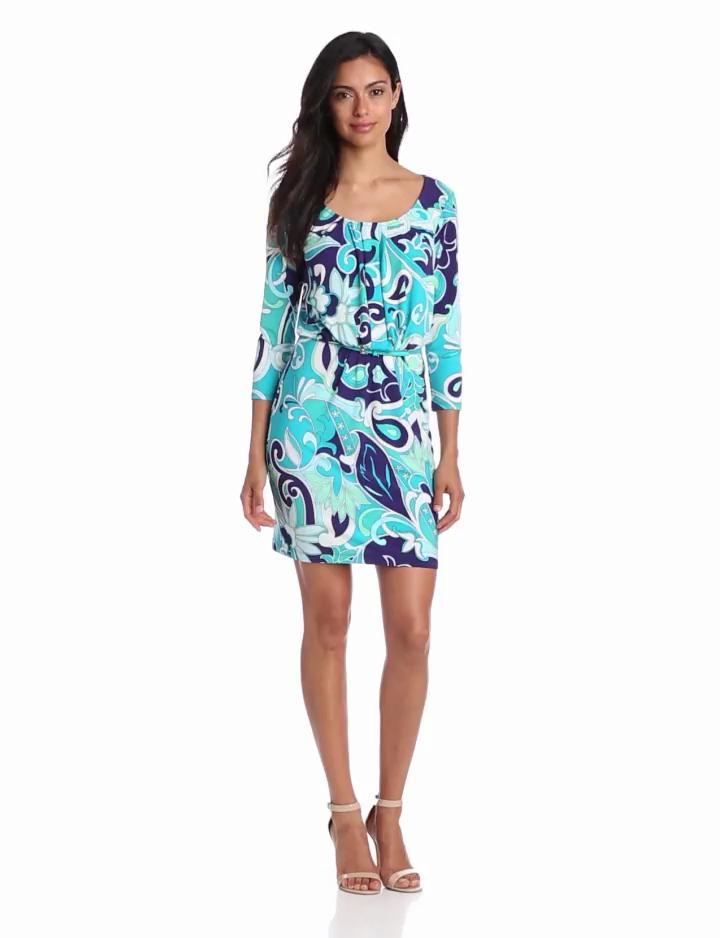 Donna Morgan Womens Three Quarter Sleeve Boat Neck Printed Dress