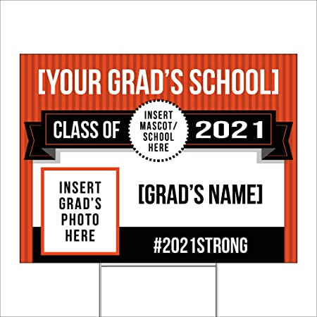 Imagine Signs   Personalized Class of 2021   Custom Graduation Yard Sign   Select Your Accent Color, Add Text, and Images of Graduate and School Mascot   Orange   18