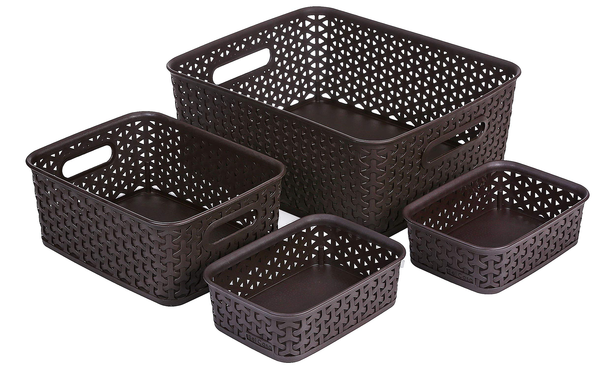 Bel Casa ROYAL Baskets for Storage Set of 4 Pieces (Medium, Small and A6 x 2), Brown product image