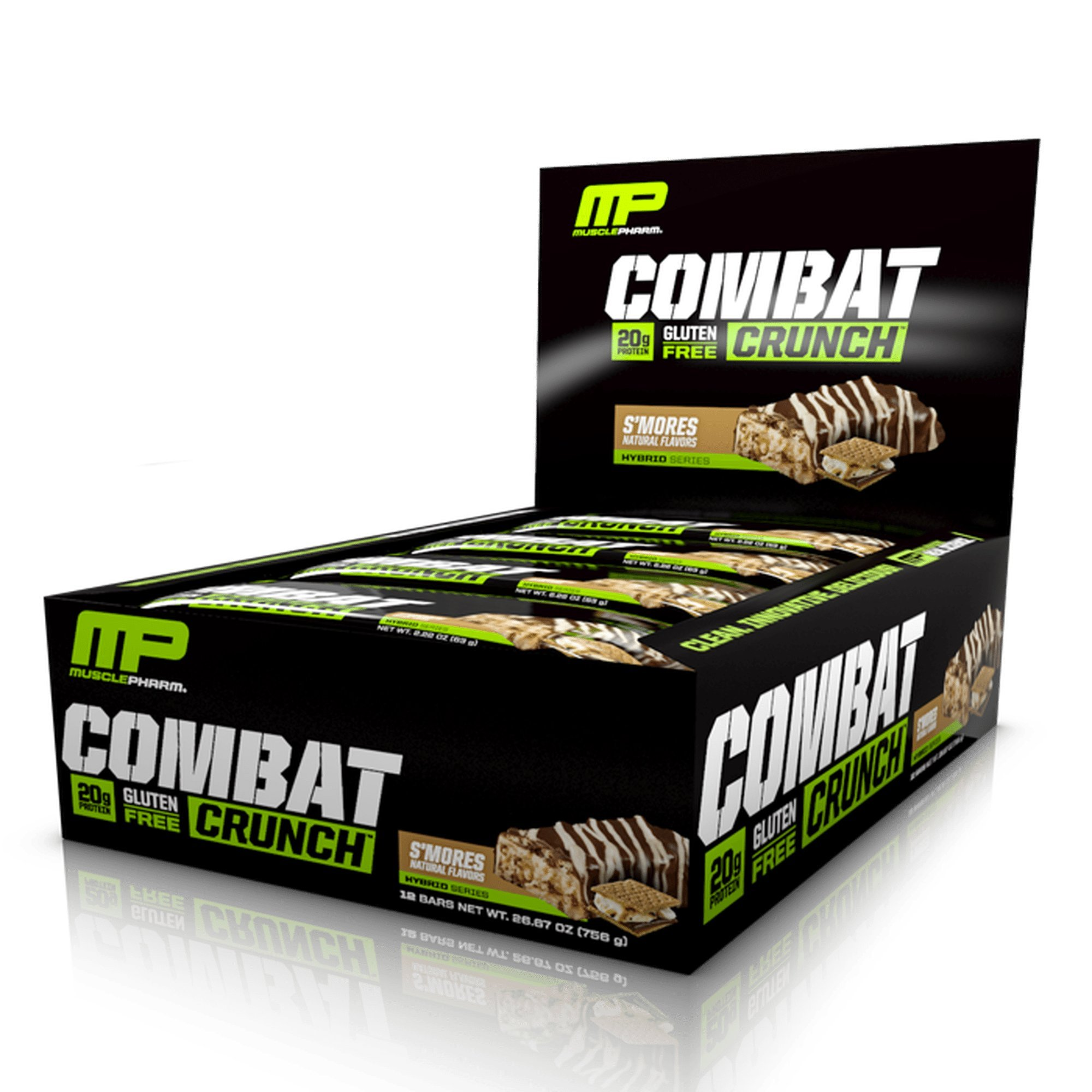 MusclePharm Combat Crunch Protein Bar, Multi-Layered Baked Bar, Gluten-Free Bars, 20 g Protein, Low-Sugar, Low-Carb, Gluten-Free, S'mores Bars, 12 Count by Muscle Pharm