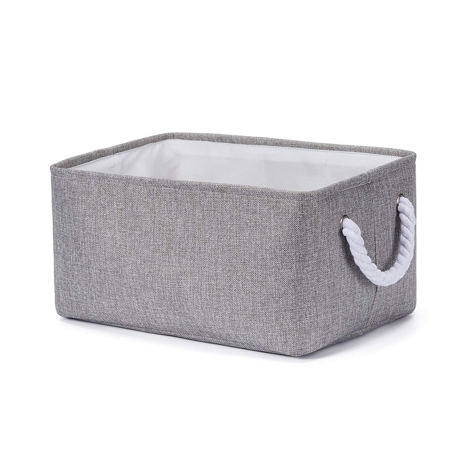 Small Every Deco Rectangular Metal Frame Storage Bin Laundry Gift Clothes Toys Basket with Rope Handles Toys Children Kids Boys Girls Nursery - Brown Crosshatch 11.8 x 7.8 x 5