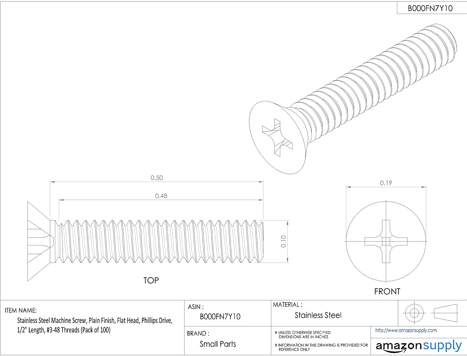 Phillips Drive Pack of 1000 #3 Drill Point 3//4 Length Pack of 1000 5//16-12 Thread Size 5//16-12 Thread Size 3//4 Length Small Parts 3112KPF Steel Self-Drilling Screw 82 Degree Flat Head Zinc Plated Finish
