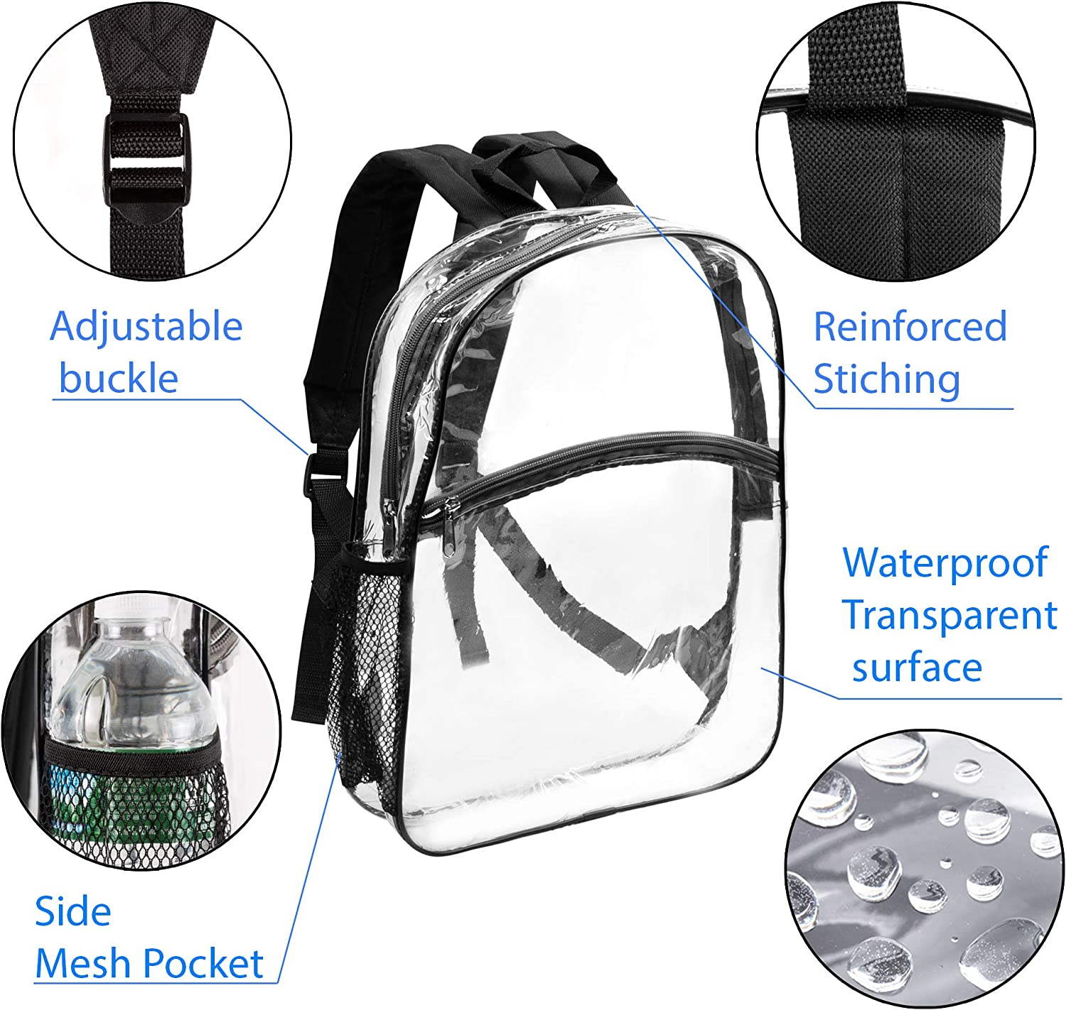 New Clear Transparent Backpack Sports Travel Briefcase Bookbag