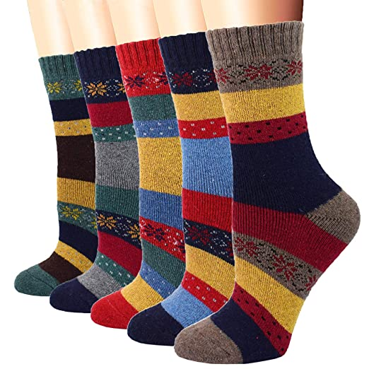 58ae4901c21d1 Image Unavailable. Image not available for. Color: YZKKE 5Pack Womens  Vintage Winter Soft Warm Thick Cold Knit Wool Crew Socks ...