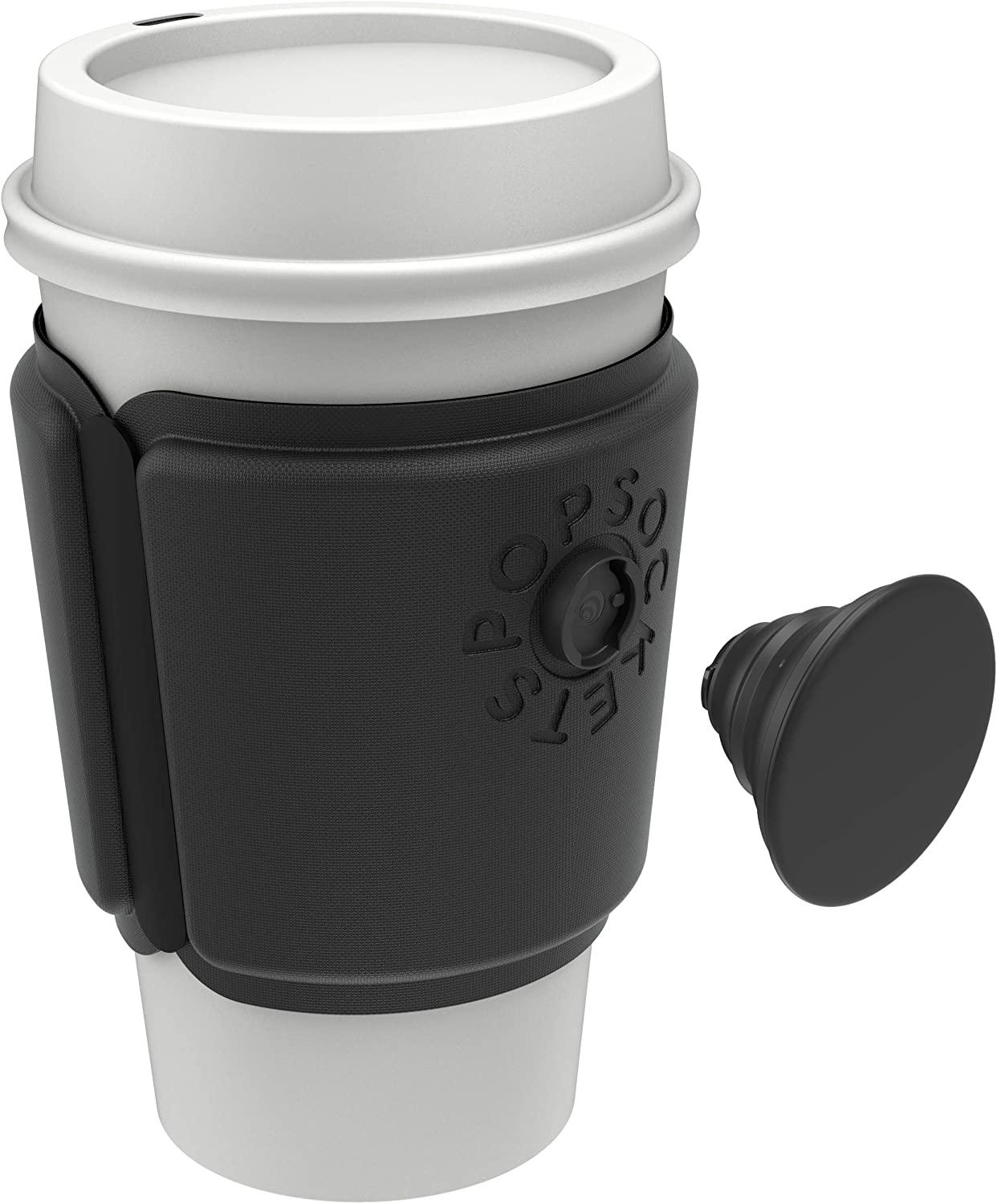 Black Cup Sleeve and Swappable Grip PopSockets PopThirst