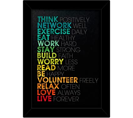 Tied Ribbons Motivational Posters Wall Frame (Wood, 25.91 cm x 2.54 cm x 34.54 cm, Black)