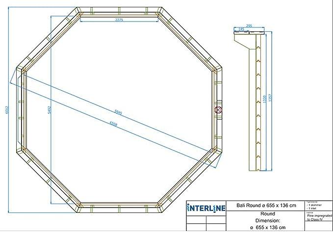 Interline 50700220 Pool Bali Madera pared de 8 rectangular, 6, 55m de diámetro x 1, 36m: Amazon.es: Jardín