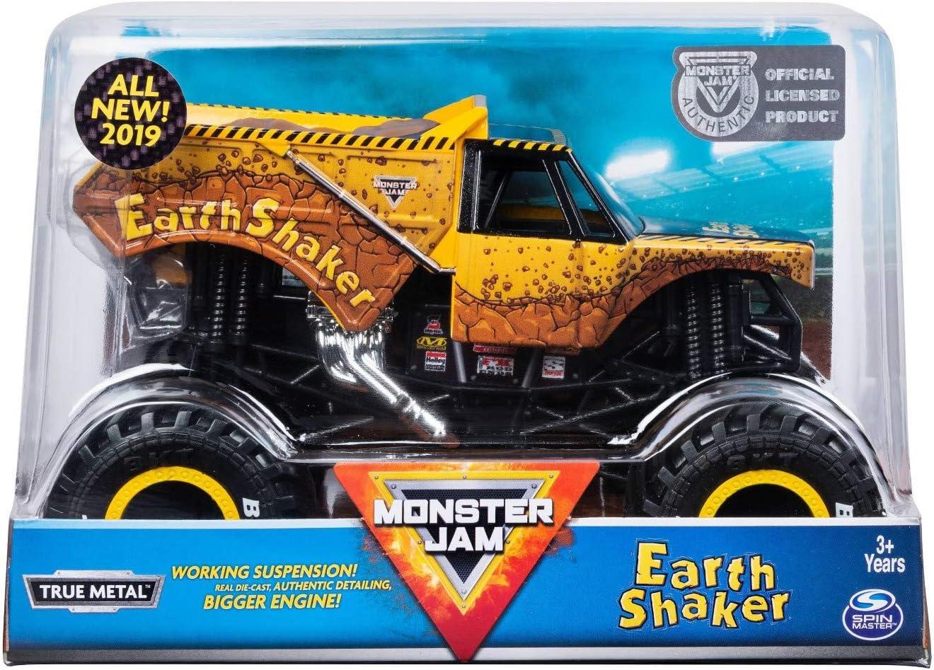 Amazon Com Mj Monster Jam Official Earth Shaker Monster Truck Die Cast Vehicle 1 24 Scale Toys Games