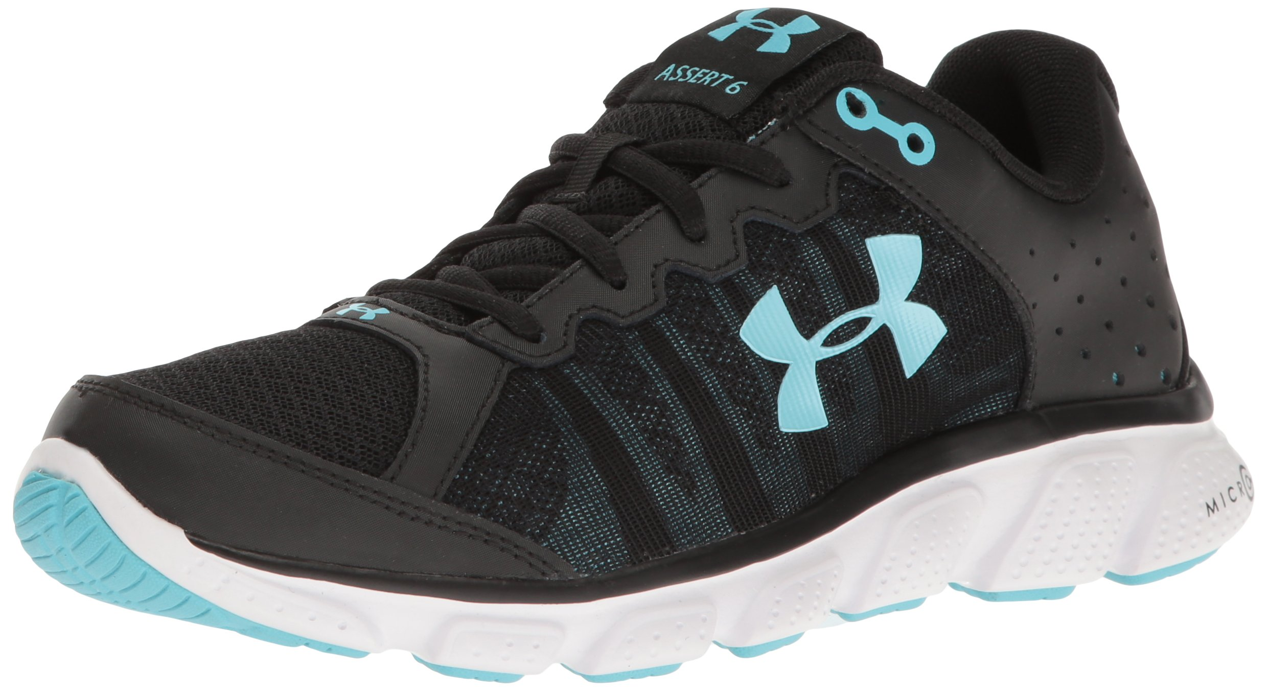 Under Armour Women's Micro G Assert 6 Running Shoe, Black (004)/White, 6.5 by Under Armour