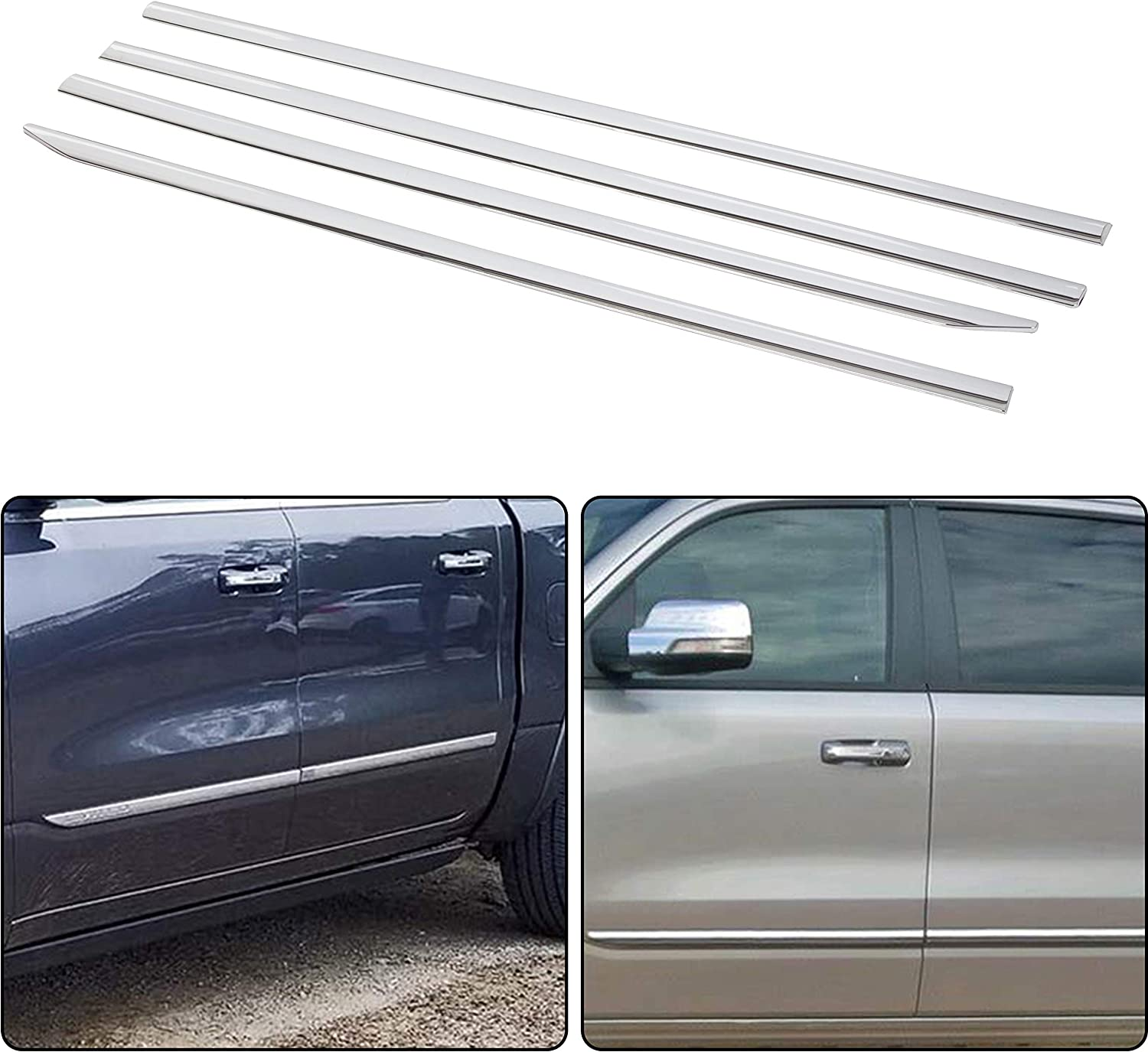 ECOTRIC Chrome Body Side Molding Trim Mouldings for Dodge Ram 1500 2019-2020 Crew Cab