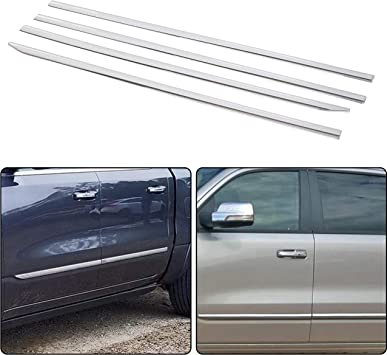 FIT FORD F150 CREW CAB PICKUP 4-DR CHROME ABS PLASTIC BODY SIDE MOLDING TRIM