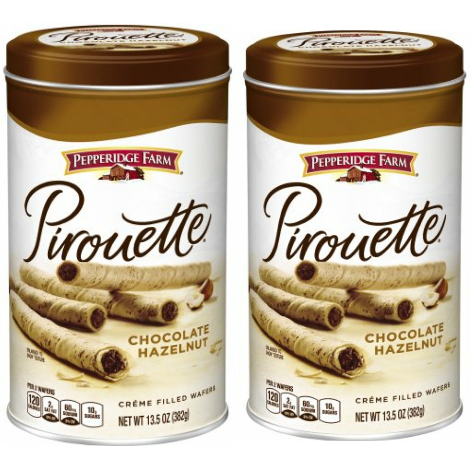 Pepperidge Farm, Pirouette Chocolate Hazelnut Crème Filled Wafers 13.5 oz. Can (Pack of 2)