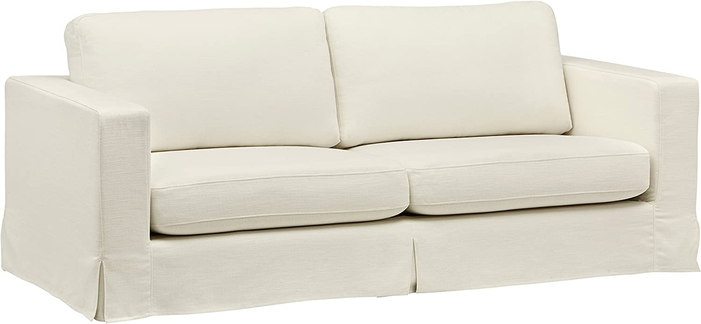 "Amazon Brand – Stone & Beam Bryant Modern Sofa Couch with Slipcover, 85.1""W, Optic White"