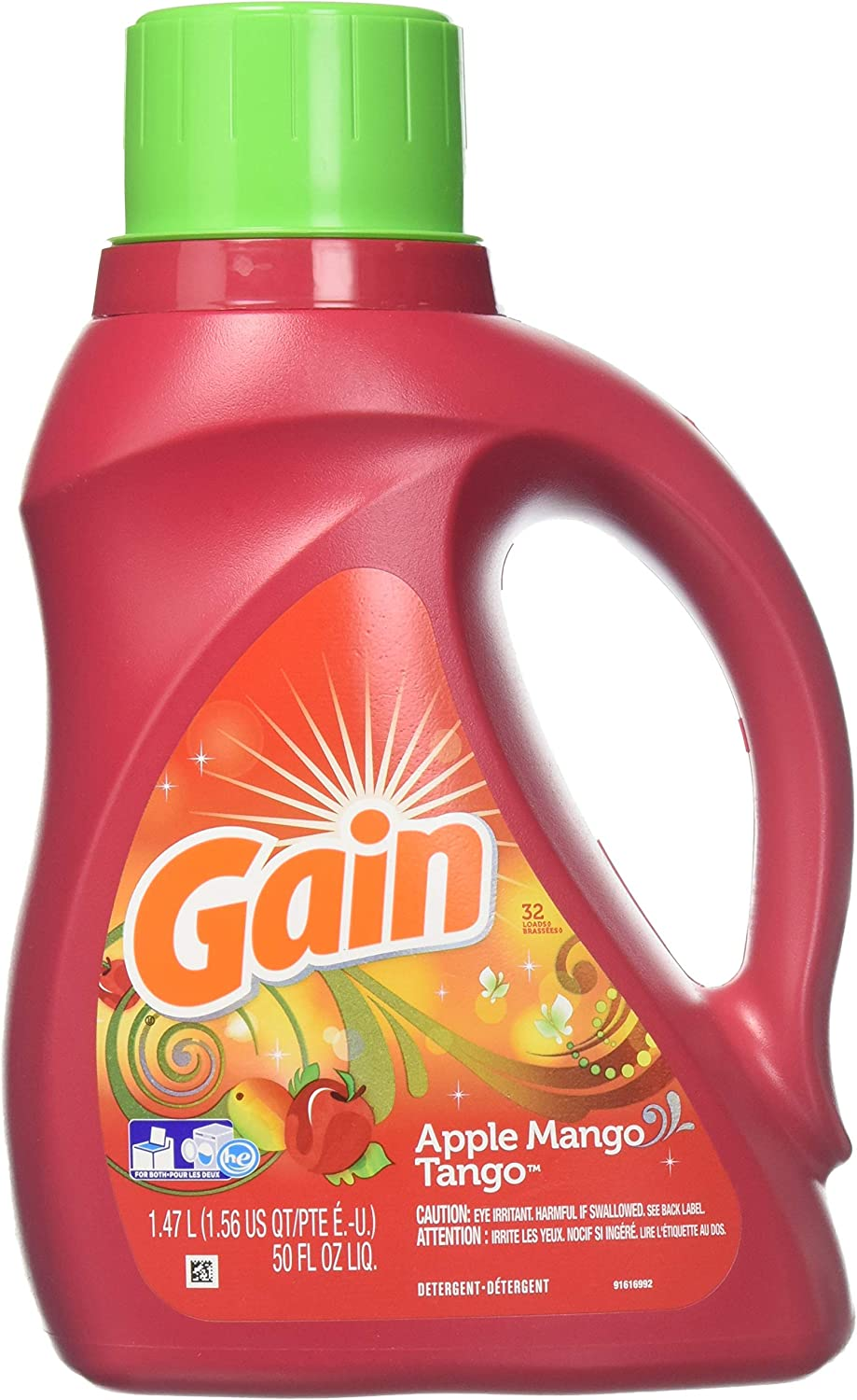 Gain Liquid Laundry Detergent, Apple Mango Tango Scent, 1.47 L (24 Loads)