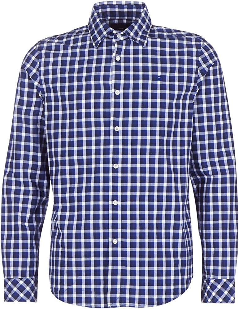 G-STAR RAW Core Straight Shirt L/s Camisa, Azul (Imperial Blue/Milk Check 8899), Small para Hombre: Amazon.es: Ropa y accesorios