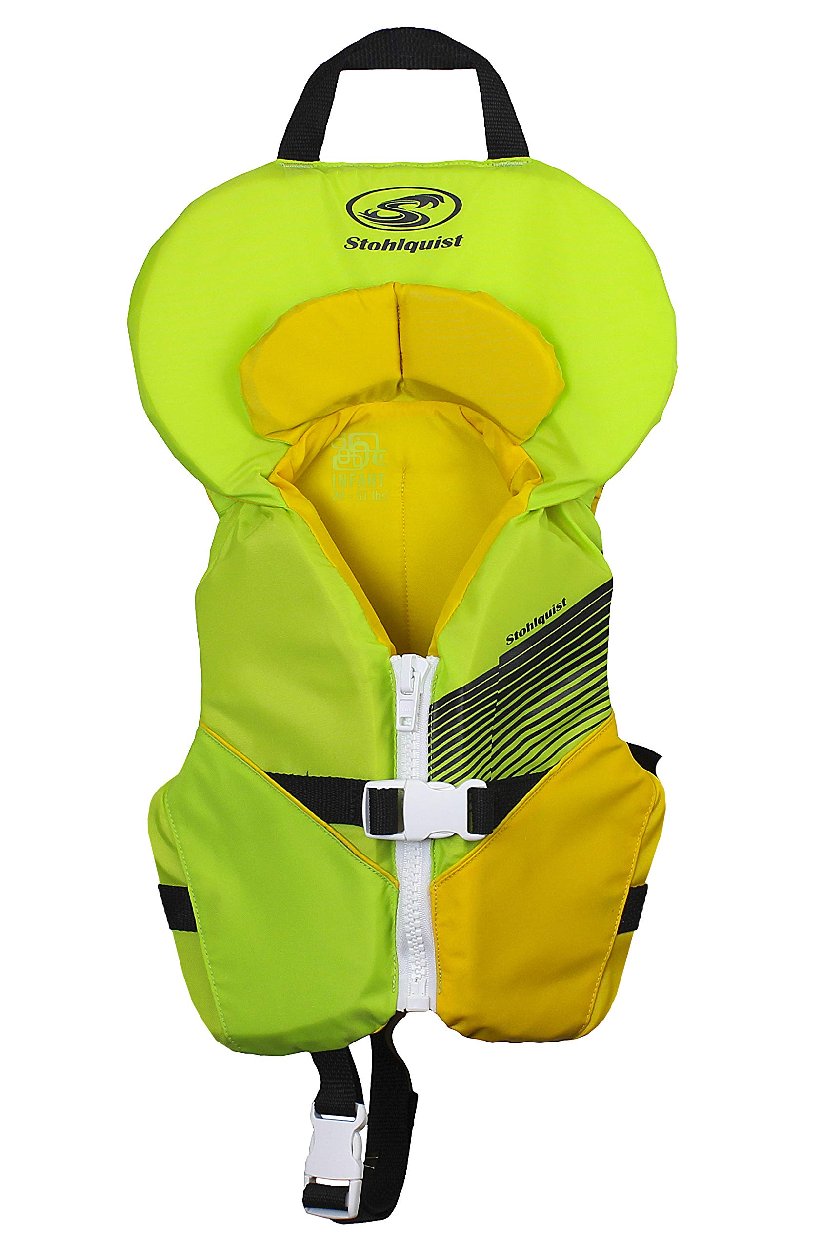 Stohlquist Waterware Toddler Life Jacket Coast Guard Approved Life Vest for Infants, Lime/Yellow, 8-30 Pounds