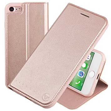 new style aab00 6f904 Nouske iPhone 7 Flip Case with Stand/Credit Card Holder/Magnetic  Closure/TPU Bumper/360 Full Body Protection Rose Gold