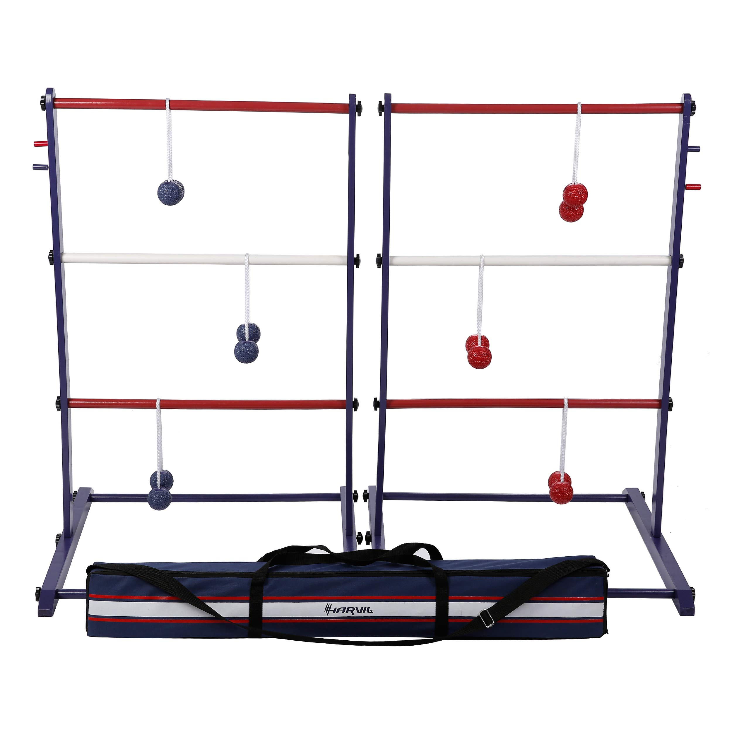 Harvil Wooden Ladder Ball Game Set. Includes Soft Bolas, 2 Targets, and Carrying Case. by Harvil