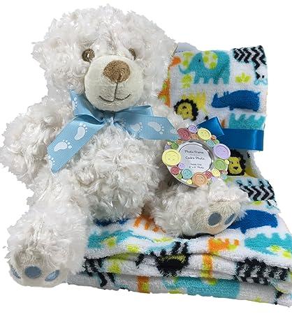 Seguro para el bebé mi primer oso de peluche, Zoo Animal manta de forro polar
