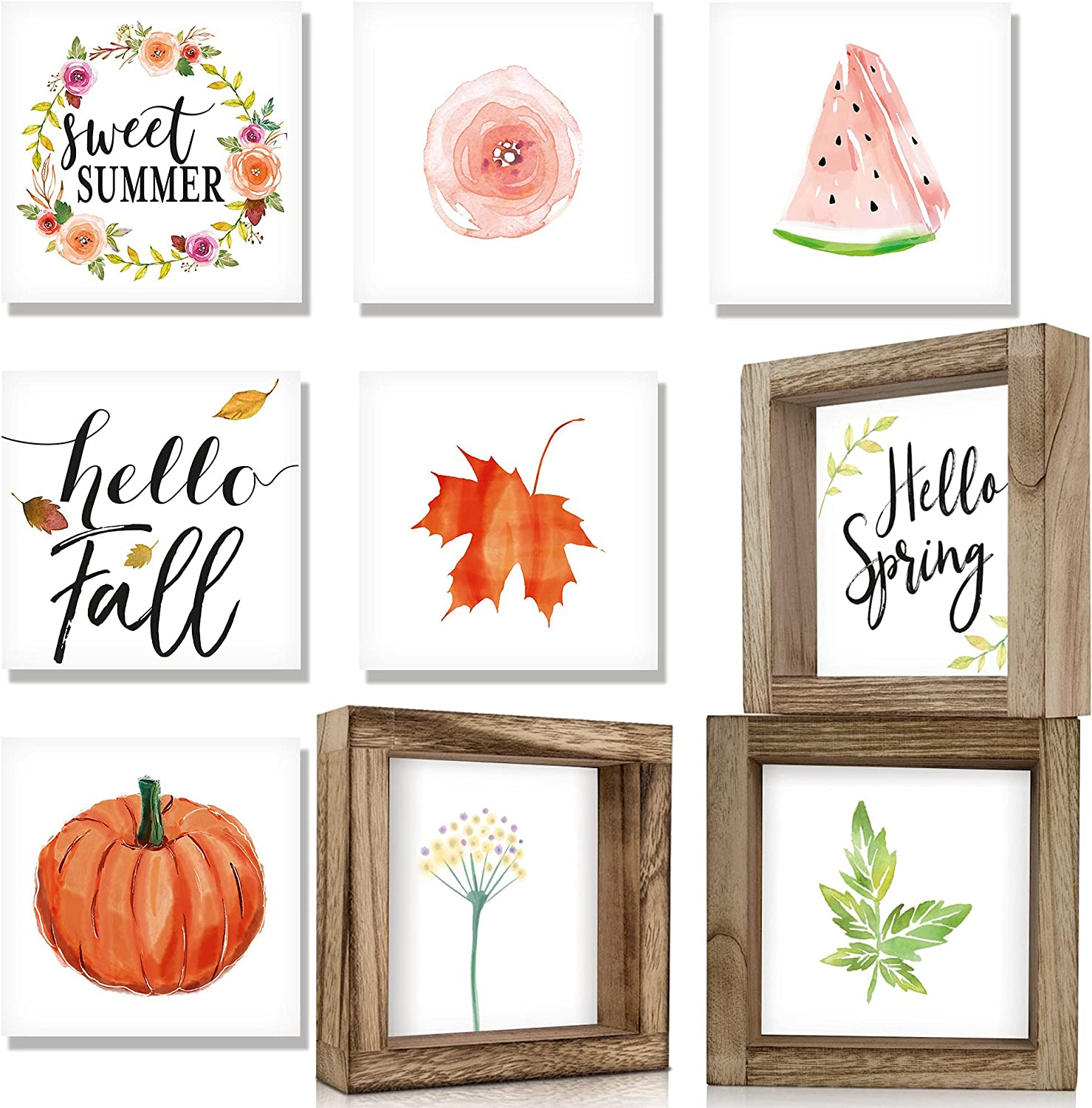 KIBAGA Farmhouse Home Decor Signs - Set of 3 Frames with 18 Interchangeable Sayings for Spring Decoration - Rustic 6