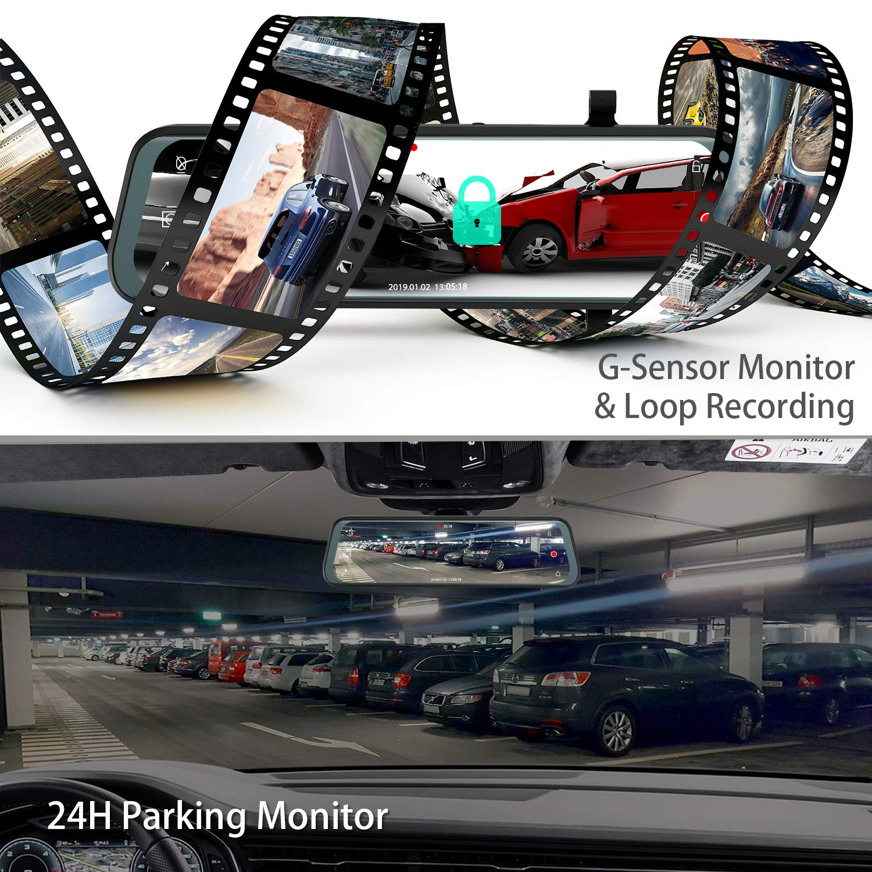 "B07PB8QJX3 Mirror Dual Dash Cam【Updated Version】 - Tinfsmart 10\"" Full HD Touch Screen Backup Dash Camera for Car Dual Len 170° 1080P Front & 150° 1080P Rear View Night Version Loop Recording Parking Monitor 81zMIgCp3xL._SL1500_"