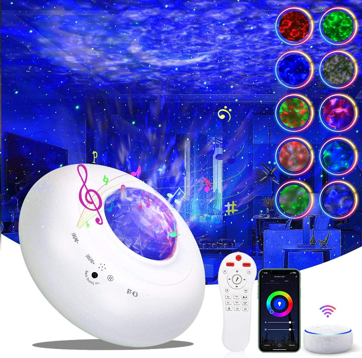Star Projector, Smart Galaxy Projector Night Light Works with Alexa Google Home,Ocean Wave Starry Light with APP Remote Control Bluetooth Speaker, Sky Night Projector for Bedroom Adult Kids Gift Party