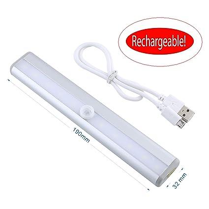 Gladle ® Barra de Luz 10 LED con Sensor de Movimiento para Closet Gabinete Armario Cajón