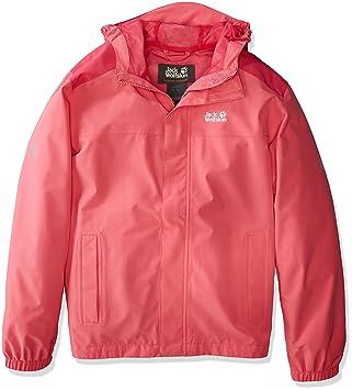 Jack Wolfskin Enfant Akka pour homme respirant imperméable coupe-vent réflecteurs Outdoor Protection Météo, Météo Veste de pluie veste de protection 16 ans peak red