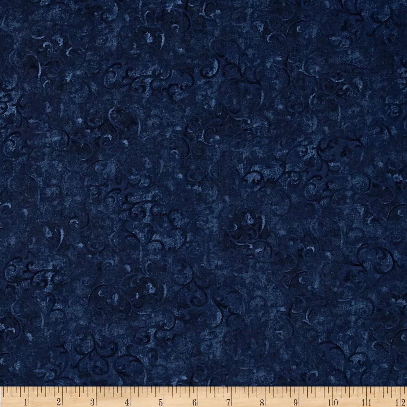Wilmington Prints Essentials Scroll True Fabric, Navy, Fabric by the yard
