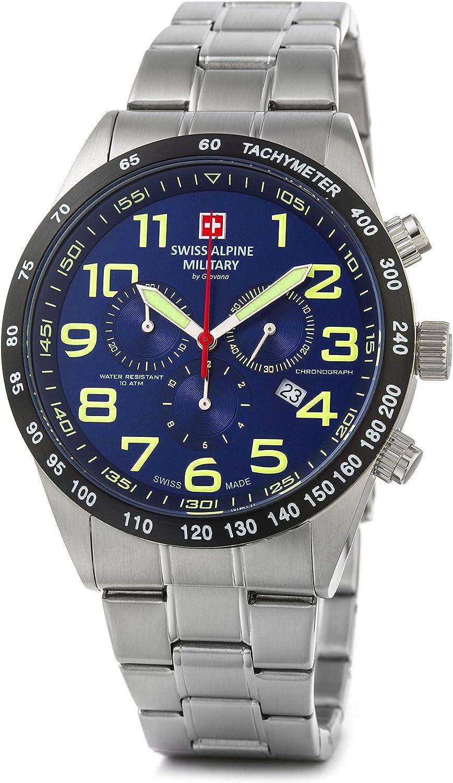 Reloj para hombre Swiss Alpine Military de Grovana, 10ATM, con correa de acero inoxidable, 7047