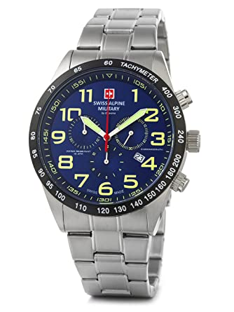 Swiss Alpine Military by Grovana Hombre Reloj Chrono 10 ATM Blue 7047.9135sam: Amazon.es: Relojes