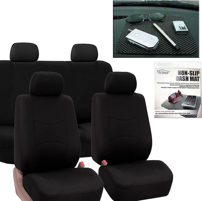 NEW FH Group Flat Cloth Car Seat Covers Black FB050114BLACK