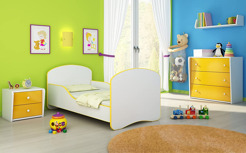 Blue, 140x70 cm FREE MATTRESS I WHITE ACMA CHILDREN TODDLER KIDS BED