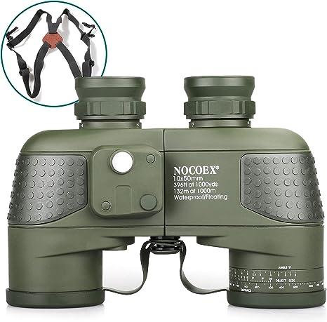 NOCOEX 10X50 Prismáticos Marinos para Adultos Impermeable con ...