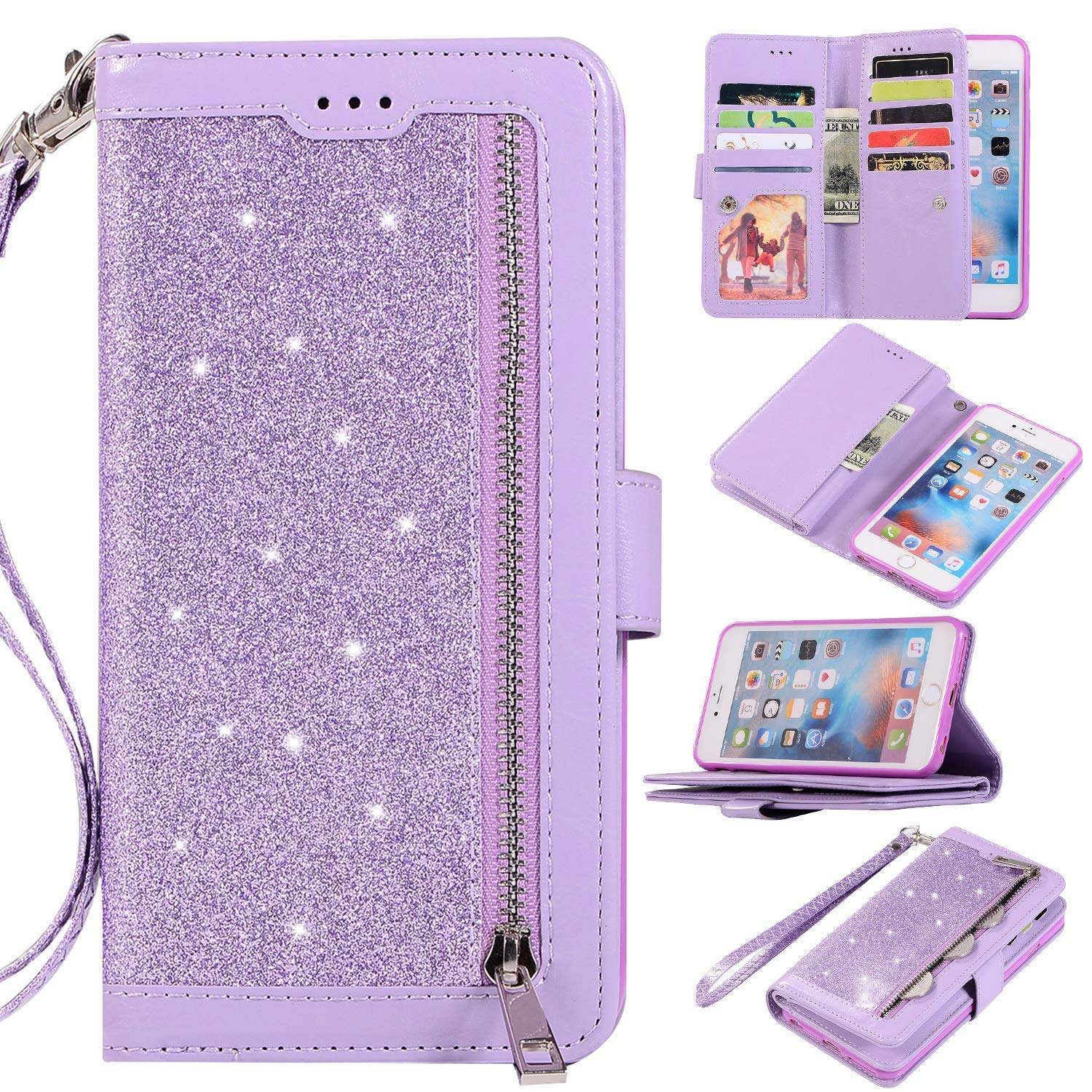 Hnzxy Compatible for Samsung Galaxy J6 2018 Case,Galaxy J6 2018 Cover,Bling Glitter Vintage PU Leather Flip Wallet Magnetic Case Multi-Function 9 Credit Card Slots with Zipper Coins Purse Cover,Purple by Hnzxy