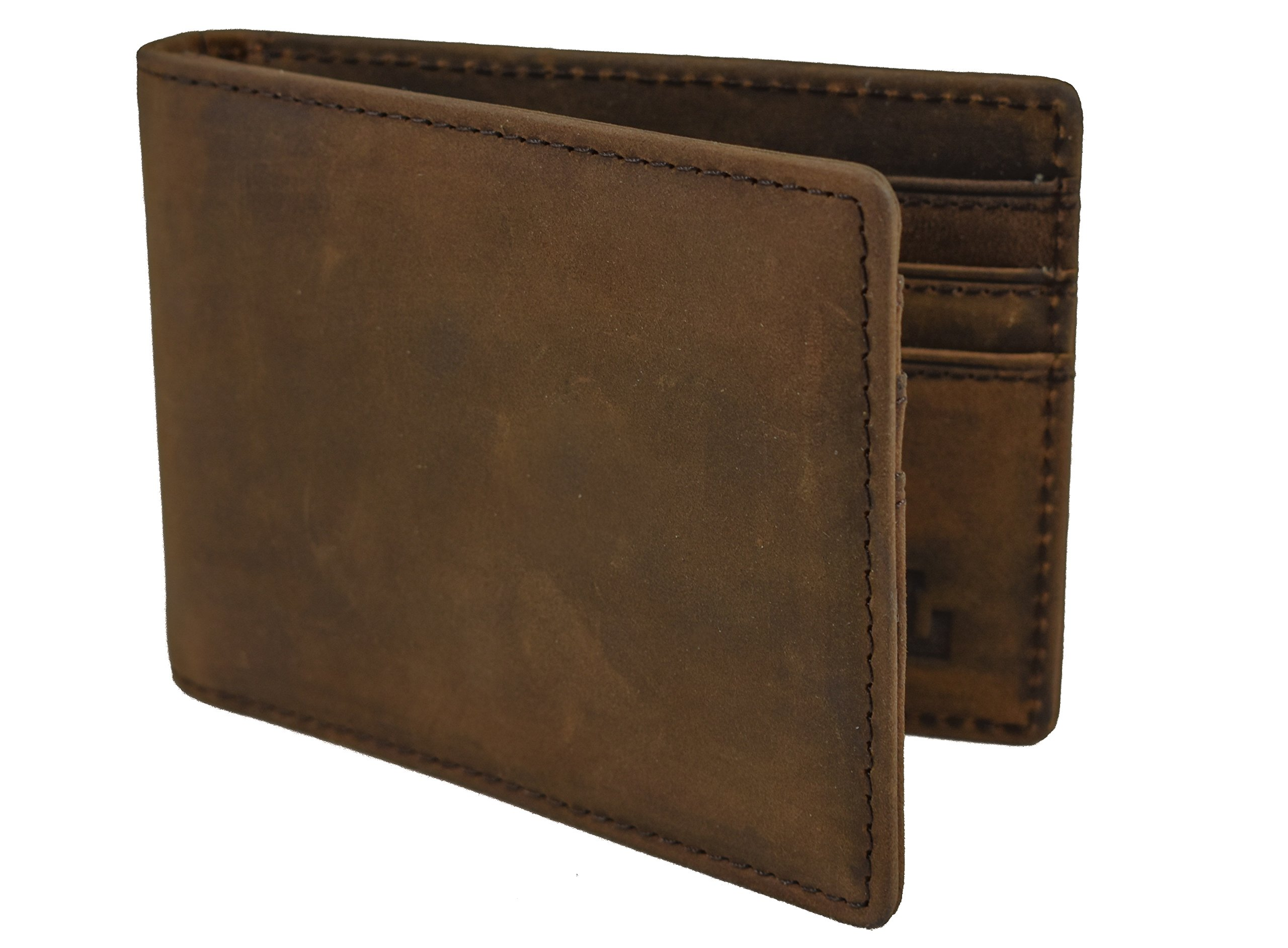 Alen Lee–Men's Full Grain Crazy Horse Leather Slim Bifold Wallet–Thin Vintage Minimalist Front Pocket Money Clip