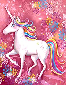 DIY 5d Diamond Painting by Number Kits for Kids, Full Drill Canvas Art Picture for Home Wall Decor (16 x12inch, Unicorn)