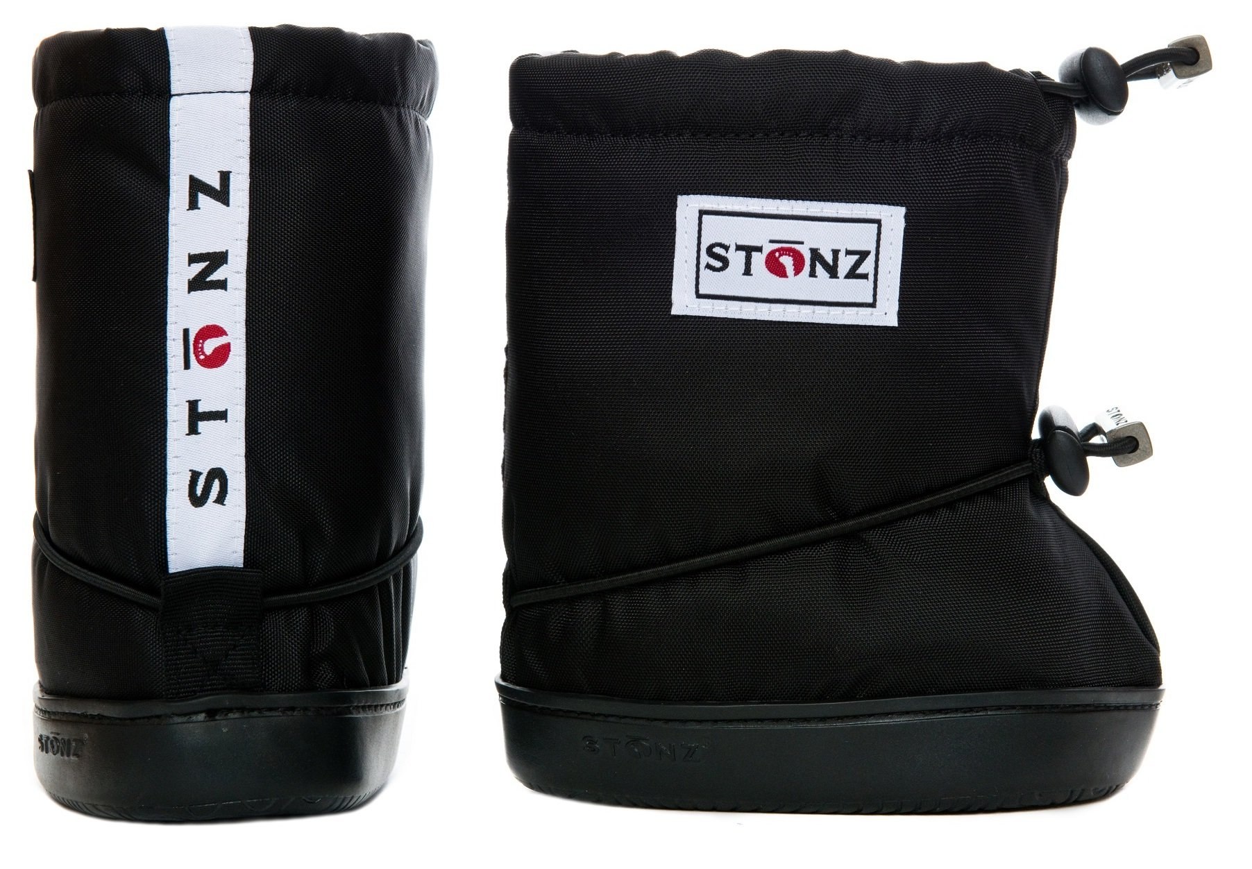Stonz Three Season STAY-On Baby Booties, For Bare Feet or Shoes, For Mild or Cold Snow Weather, Black Large