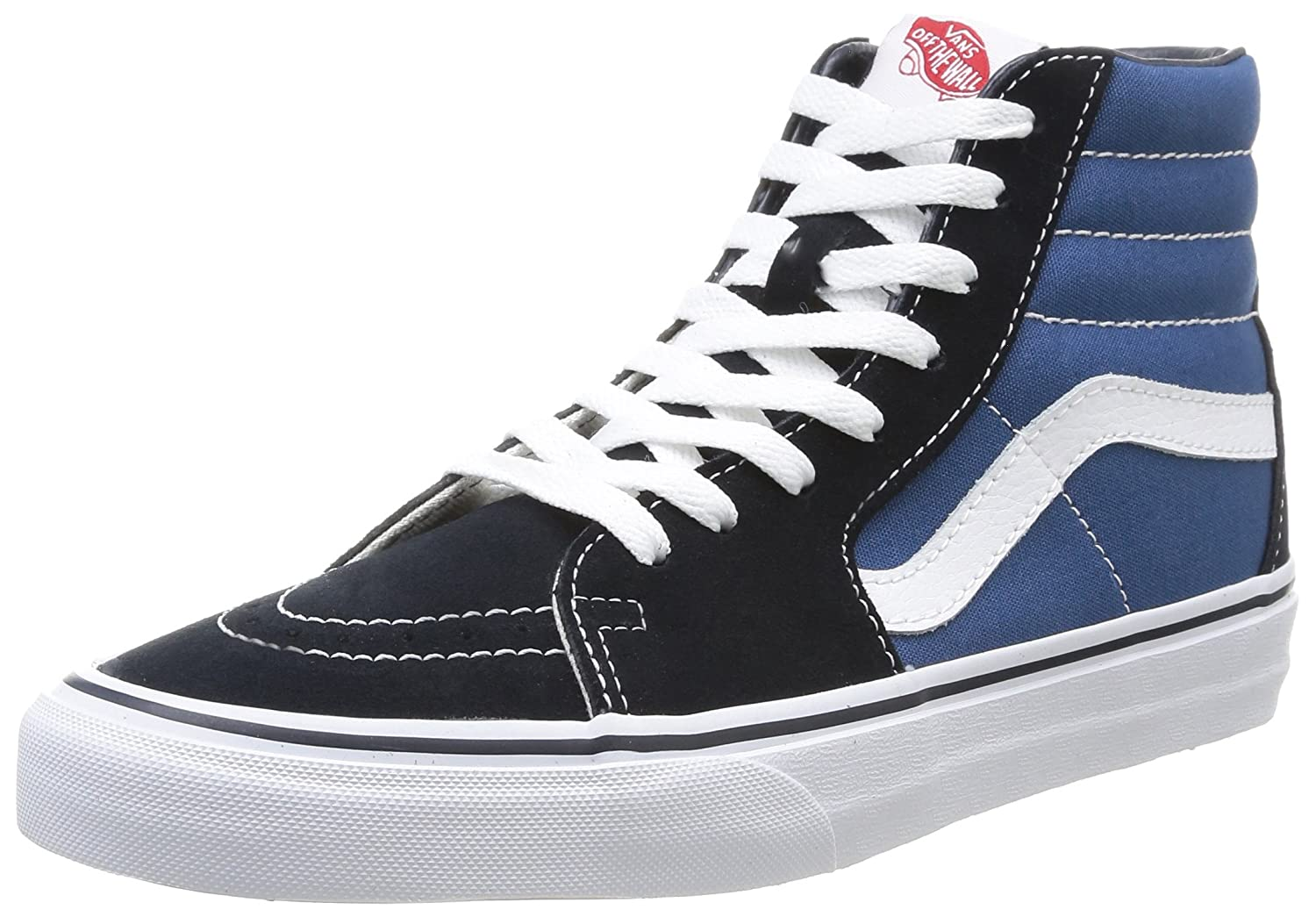 Vans Sk8-Hi Unisex Casual High-Top Skate Shoes, Comfortable and Durable in Signature Waffle Rubber Sole B001AIQN2A 11 B(M) US Women / 9.5 D(M) US Men|Navy