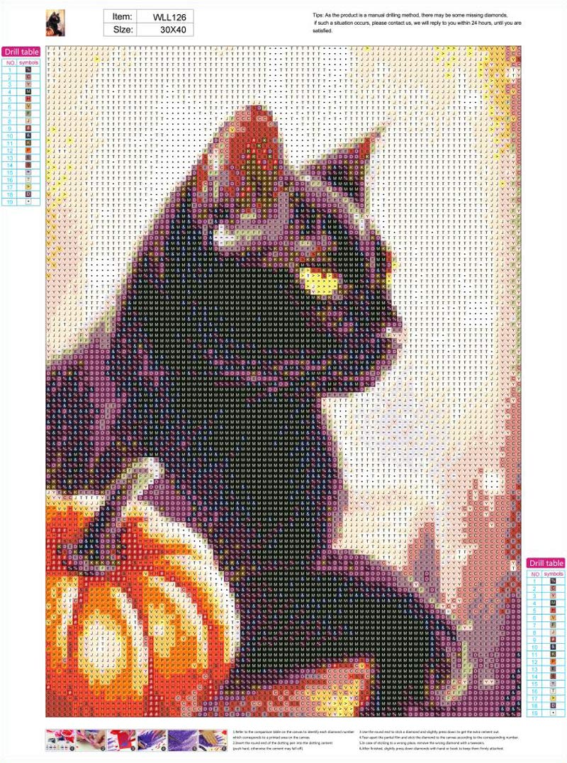 DIY 5D Diamond Painting Full Round Drill Kit Rhinestone Picture Art Craft for Home Wall Decor 12x16In Black Cat and Pumpkin Lights