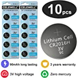 CR2016 3V Lithium Coin Cell Battery For Garage Door Opener/Watch 90 mAh 10 Pack CELEWELL Brand 3 Years Warranty