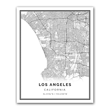 Los angeles map poster print modern black and white wall art scandinavian home decor