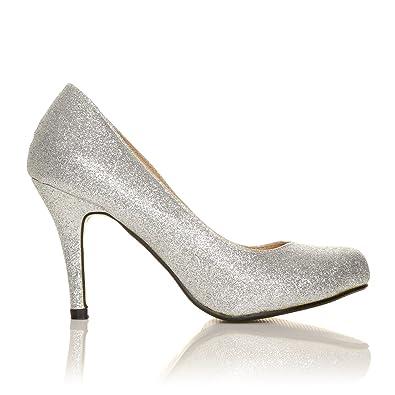 Pearl - High Heels Stöckelschuhe silber Glitter Glitzer Stilettos  klassische Pumps - Silber Glitzer, Synthetik 3bff62b6da