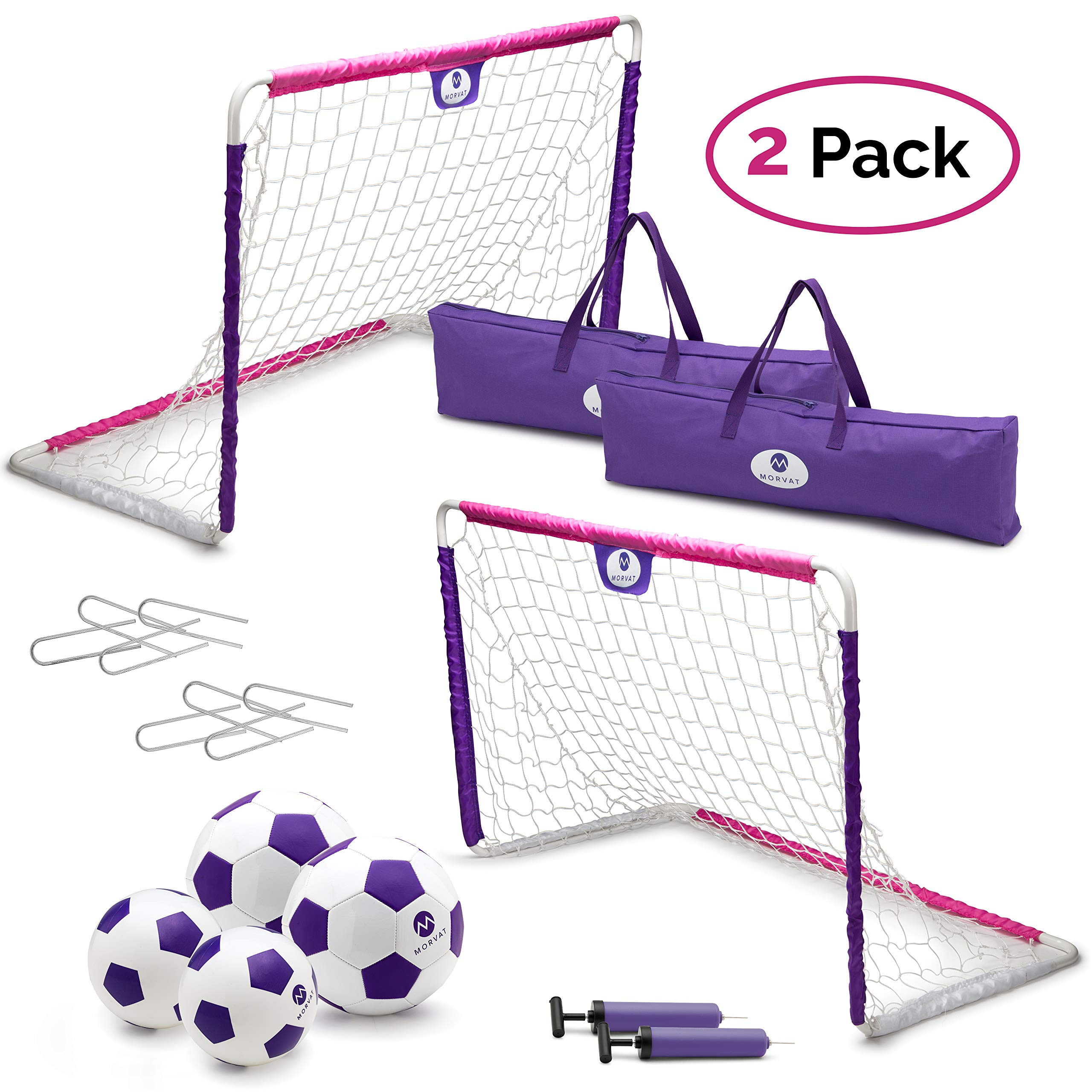 Morvat Soccer Goal Set for Backyard, Outdoor Games Soccer Net, Soccer Goals for Kids, Soccer Accessories, Pop Up Soccer Goals, Set of 2: Includes 2 Goal Nets, Soccer Balls, and More, Pink and Purple
