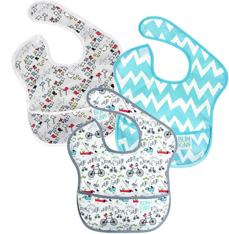 Waterproof Bumkins SuperBib 6-24 Months Baby Bib Stain /& Odor Resistant 3 Pack Urban Bird//Chevron Washable
