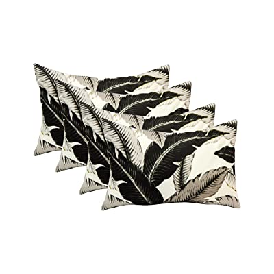 RSH DECOR Set of 4 Indoor/Outdoor Decorative Lumbar/Rectangle Pillows Made with Tommy Bahama Home Fabric Swaying Palms - Onyx Black Palm Leaf Leaves Fabric: Kitchen & Dining