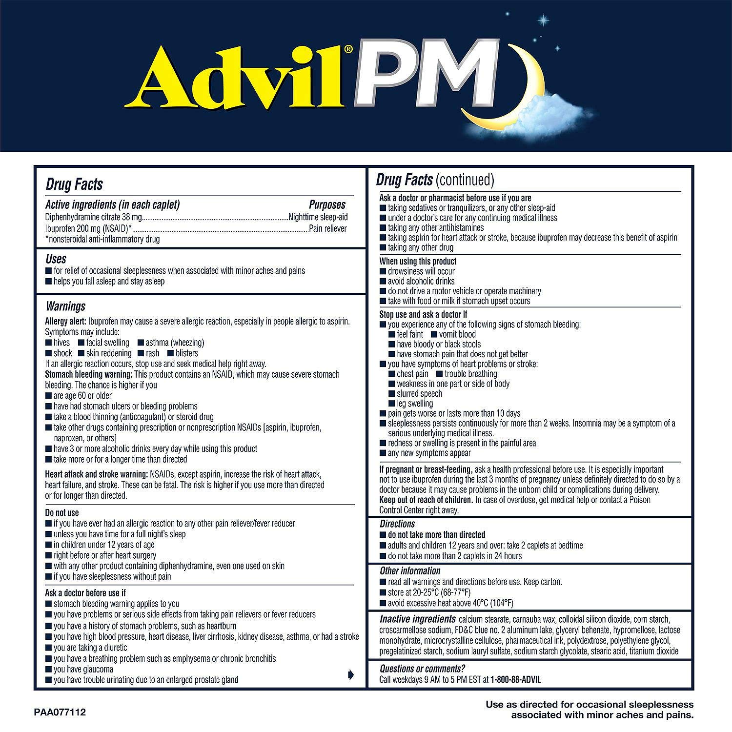 Amazon.com: Advil PM Pain Reliever/Nighttime Sleep Aid, Ibuprofen and Diphenhydramine (1 Pack ,200 Coated Caplets): Health & Personal Care