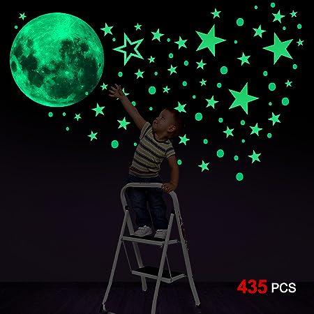 Pegatinas de estrellas para pared que brillan en la oscuridad - Recibirás 1 gran luna luminosa (30 c