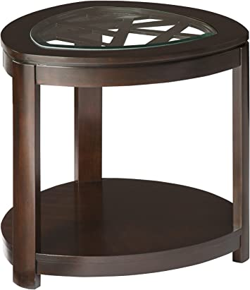 Amazon Com Standard Furniture Crackle Triangle Shaped End Table In Dark Merlot Kitchen Dining