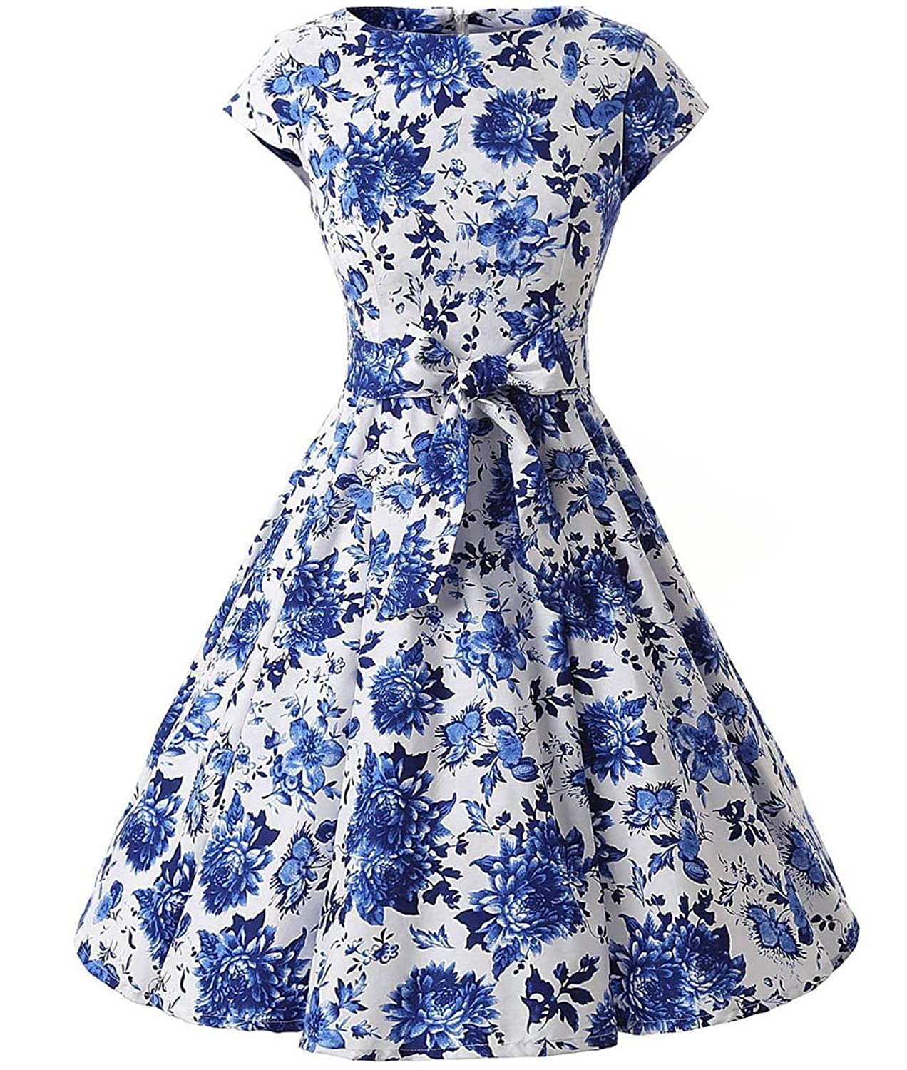 Ensnovo Women Cap Sleeve 50s Floral Vintage Rockabilly Swing Cocktail Party Dress